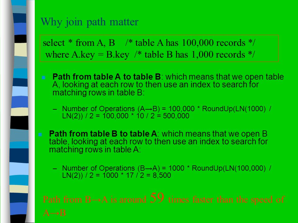 Why join path matter n Path from table A to table B: which means that we open table A, looking at each row to then use an index to search for matching rows in table B: select * from A, B /* table A has 100,000 records */ where A.key = B.key /* table B has 1,000 records */ Path from BA is around 59 times faster than the speed of AB n Path from table B to table A: which means that we open B table, looking at each row to then use an index to search for matching rows in table A: –Number of Operations (AB) = 100,000 * RoundUp(LN(1000) / LN(2)) / 2 = 100,000 * 10 / 2 = 500,000 –Number of Operations (BA) = 1000 * RoundUp(LN(100,000) / LN(2)) / 2 = 1000 * 17 / 2 = 8,500