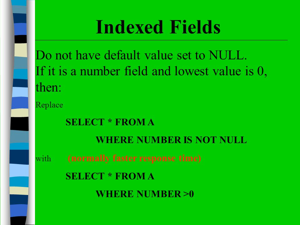 Do not have default value set to NULL. If it is a number field and lowest value is 0, then: Replace SELECT * FROM A WHERE NUMBER IS NOT NULL with (nor