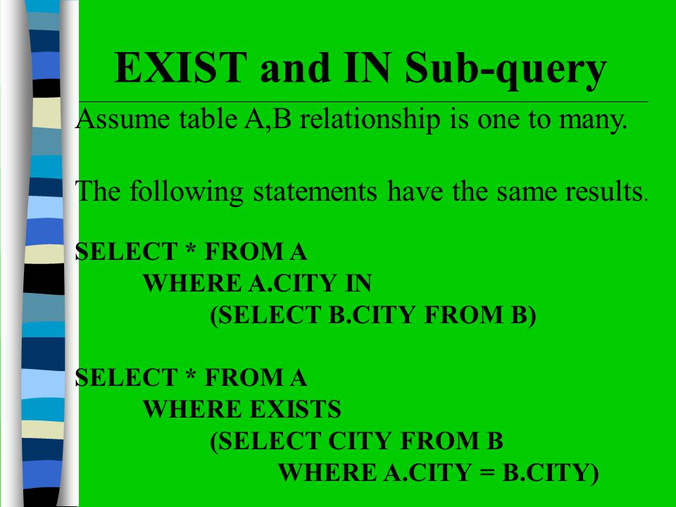 Assume table A,B relationship is one to many. The following statements have the same results.