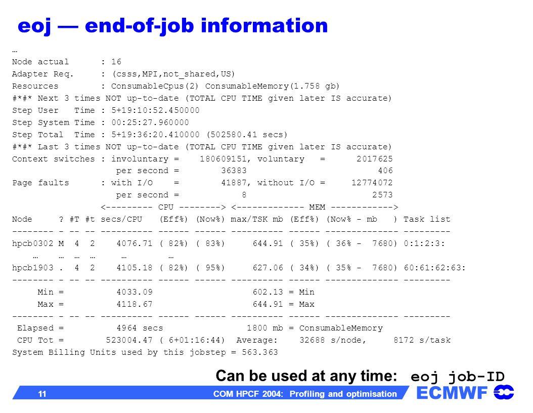 ECMWF 11 COM HPCF 2004: Profiling and optimisation … Node actual : 16 Adapter Req. : (csss,MPI,not_shared,US) Resources : ConsumableCpus(2) Consumable