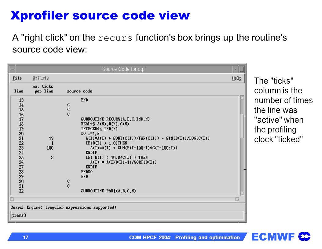 ECMWF 17 COM HPCF 2004: Profiling and optimisation A