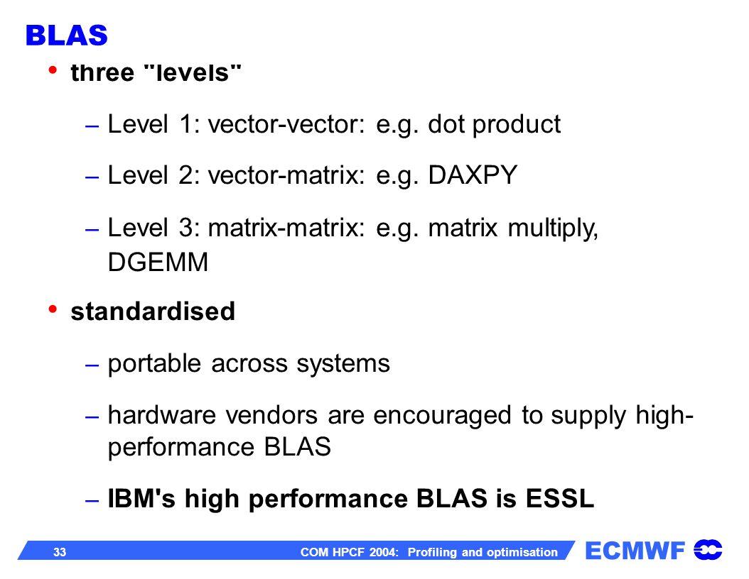 ECMWF 33 COM HPCF 2004: Profiling and optimisation three