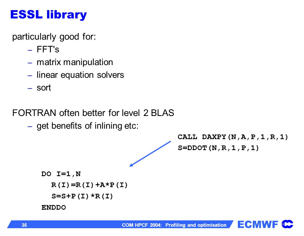 ECMWF 35 COM HPCF 2004: Profiling and optimisation particularly good for: – FFT's – matrix manipulation – linear equation solvers – sort FORTRAN often