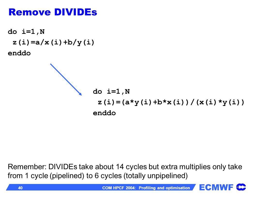 ECMWF 40 COM HPCF 2004: Profiling and optimisation do i=1,N z(i)=a/x(i)+b/y(i) enddo do i=1,N z(i)=(a*y(i)+b*x(i))/(x(i)*y(i)) enddo Remember: DIVIDEs