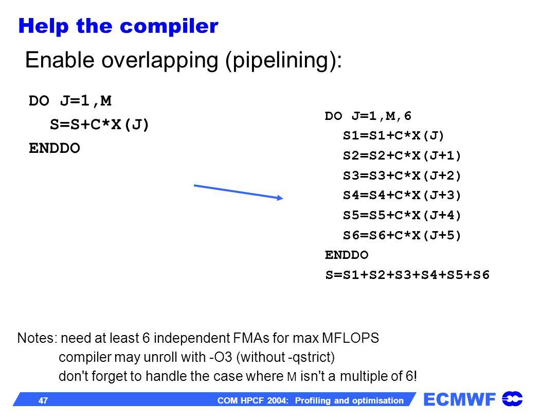 ECMWF 47 COM HPCF 2004: Profiling and optimisation DO J=1,M,6 S1=S1+C*X(J) S2=S2+C*X(J+1) S3=S3+C*X(J+2) S4=S4+C*X(J+3) S5=S5+C*X(J+4) S6=S6+C*X(J+5)