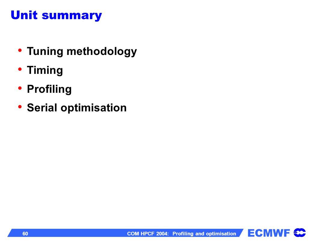 ECMWF 60 COM HPCF 2004: Profiling and optimisation Unit summary Tuning methodology Timing Profiling Serial optimisation