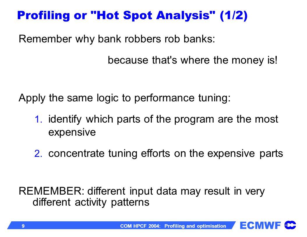 ECMWF 30 COM HPCF 2004: Profiling and optimisation scalar library – no change to code (i.e.