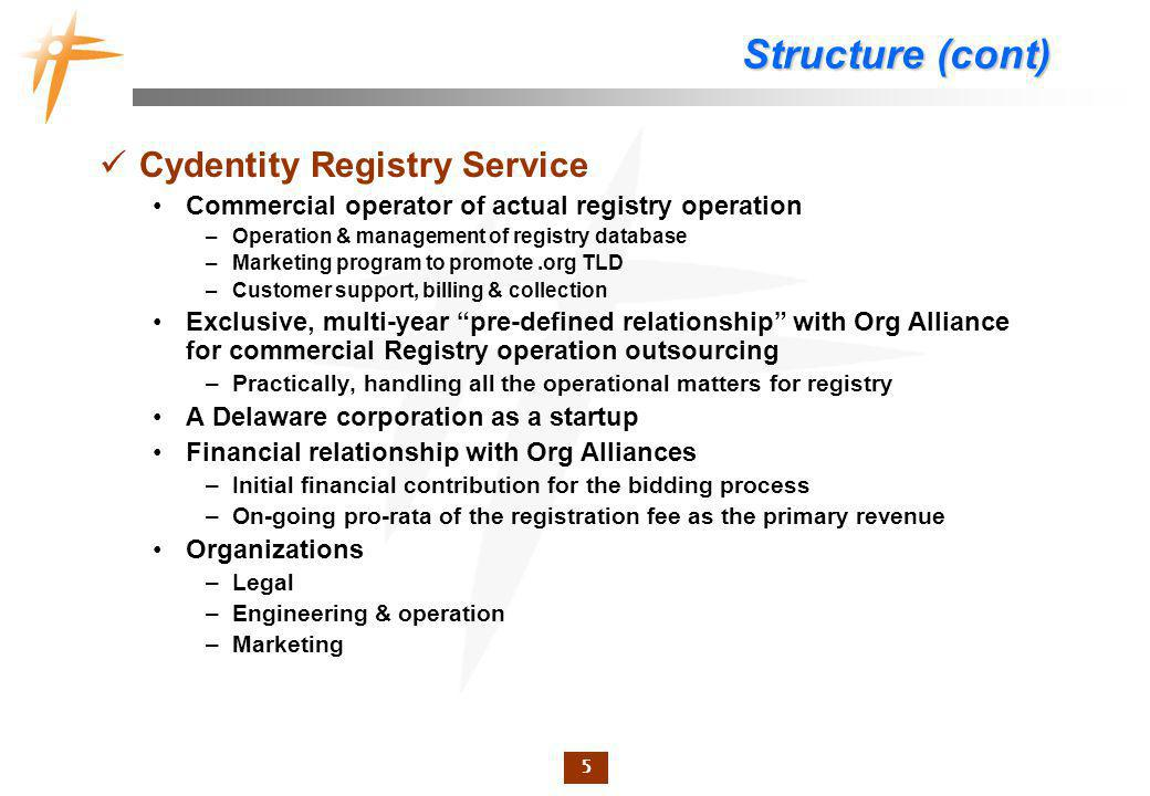 5 Structure (cont) Cydentity Registry Service Commercial operator of actual registry operation –Operation & management of registry database –Marketing program to promote.org TLD –Customer support, billing & collection Exclusive, multi-year pre-defined relationship with Org Alliance for commercial Registry operation outsourcing –Practically, handling all the operational matters for registry A Delaware corporation as a startup Financial relationship with Org Alliances –Initial financial contribution for the bidding process –On-going pro-rata of the registration fee as the primary revenue Organizations –Legal –Engineering & operation –Marketing