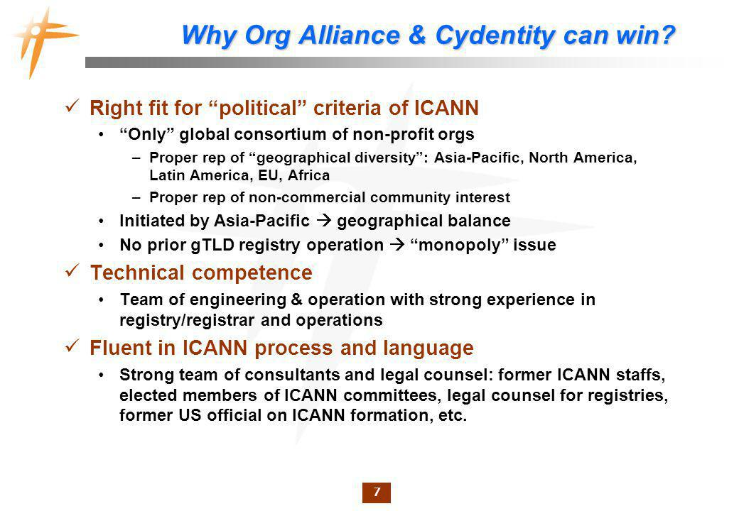 7 Why Org Alliance & Cydentity can win.