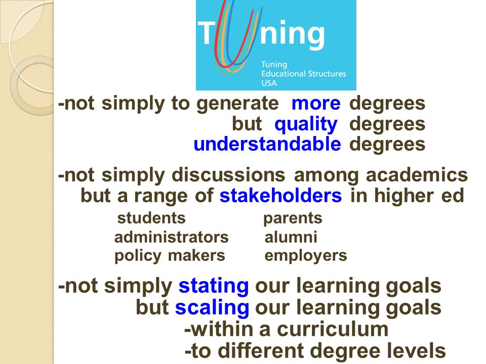 -not simply to generate moredegrees but qualitydegrees understandabledegrees -not simply discussions among academics but a range of stakeholders in higher ed students parents administrators alumni policy makers employers -not simply stating our learning goals but scaling our learning goals -within a curriculum -to different degree levels