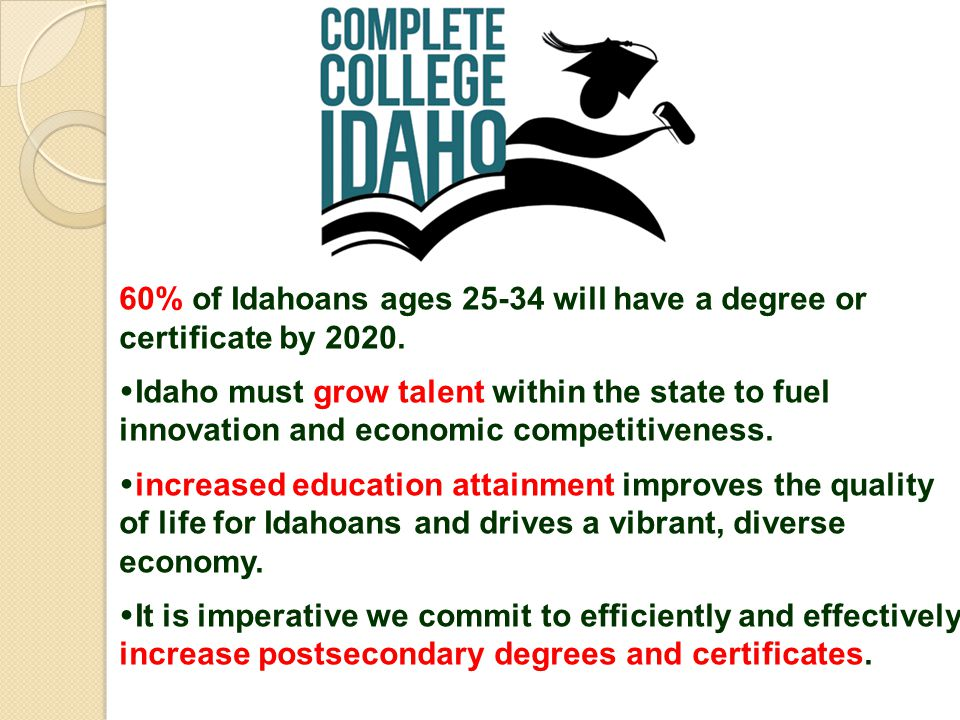 60% of Idahoans ages 25-34 will have a degree or certificate by 2020.