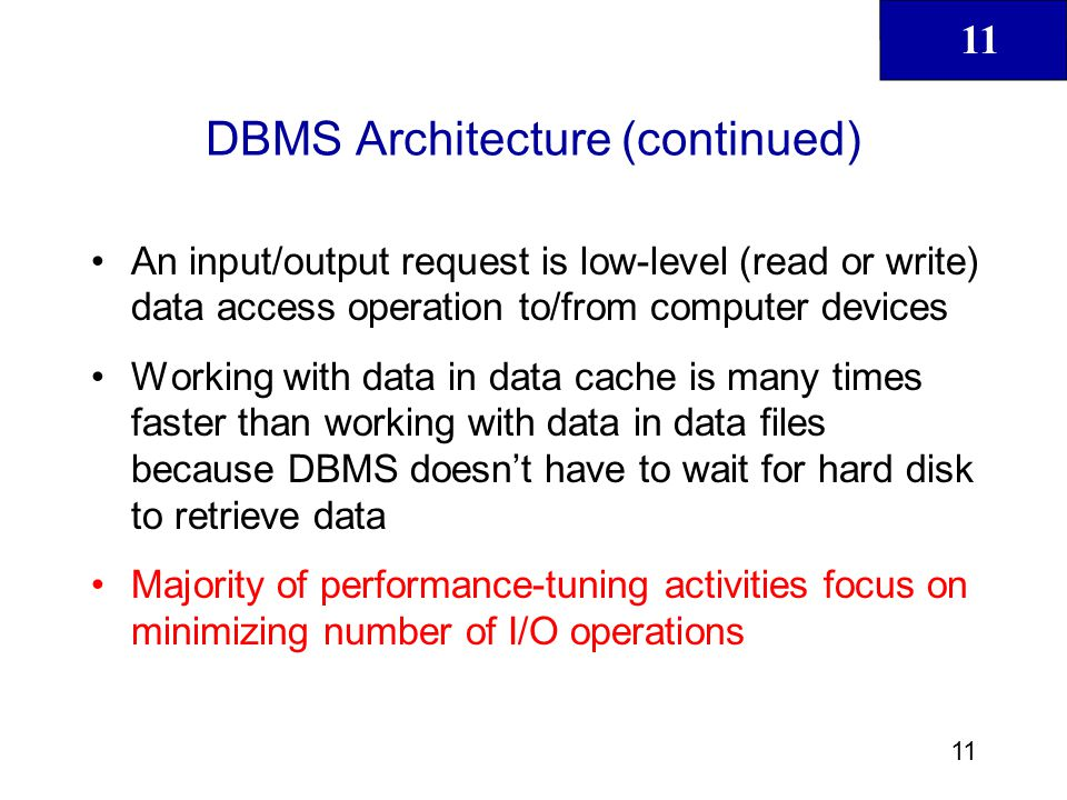 11 12 Database Statistics Refers to number of measurements about database objects and available resources –Tables –Indexes –Number of processors used –Processor speed –Temporary space available Make critical decisions about improving query processing efficiency Can be gathered manually by DBA or automatically by DBMS
