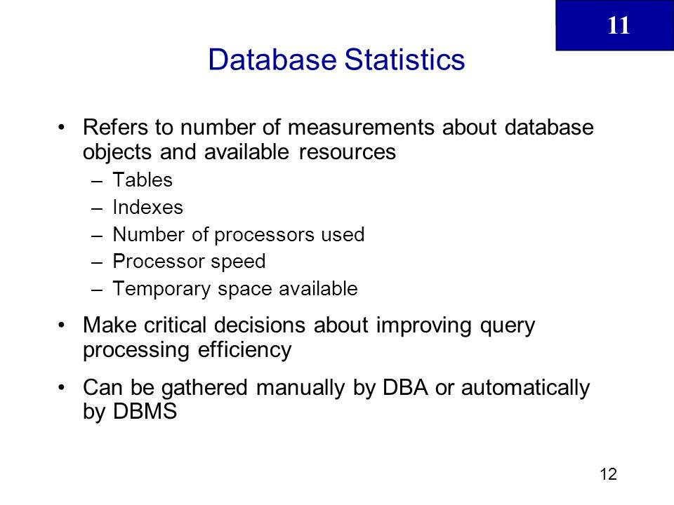 11 13 Database Statistics (continued)
