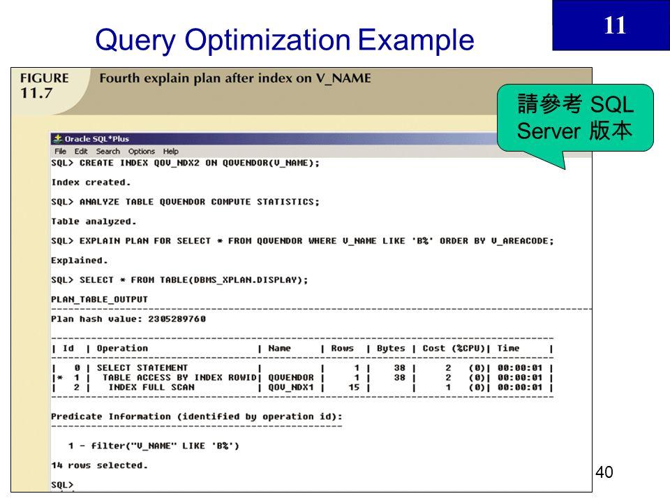 11 41 Query Optimization Example SQL Server