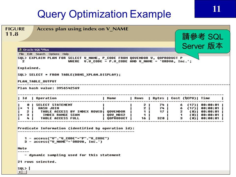 11 42 Query Optimization Example SQL Server