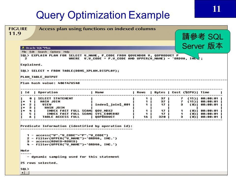 11 43 Query Optimization Example SQL Server