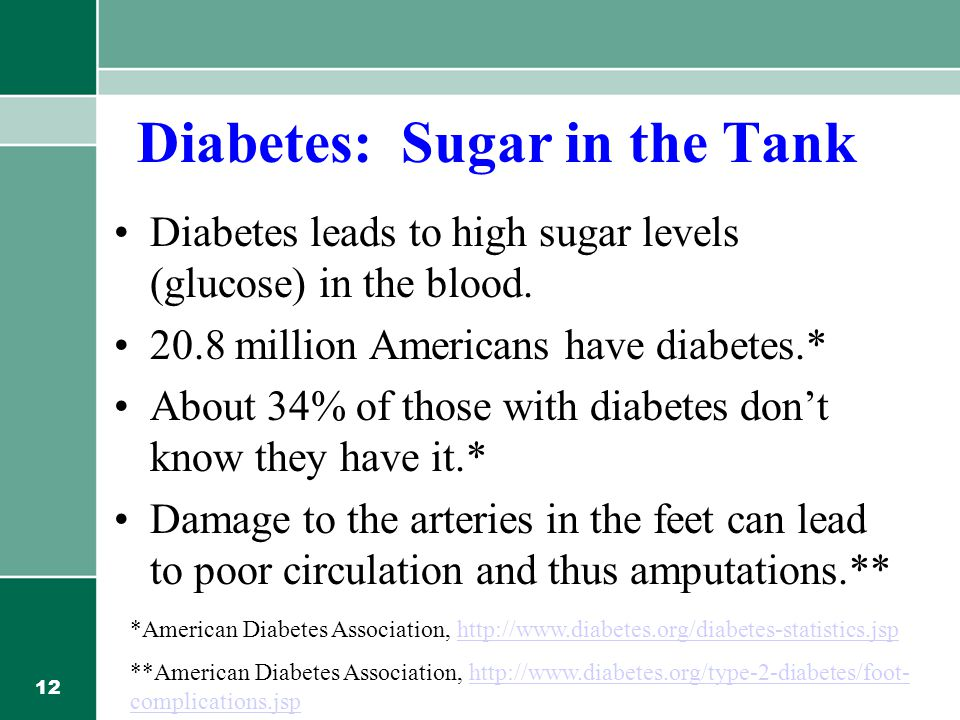 12 Diabetes: Sugar in the Tank Diabetes leads to high sugar levels (glucose) in the blood.
