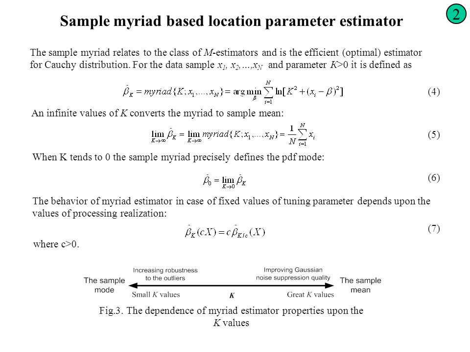 Sample myriad based location parameter estimator The sample myriad relates to the class of М-estimators and is the efficient (optimal) estimator for C