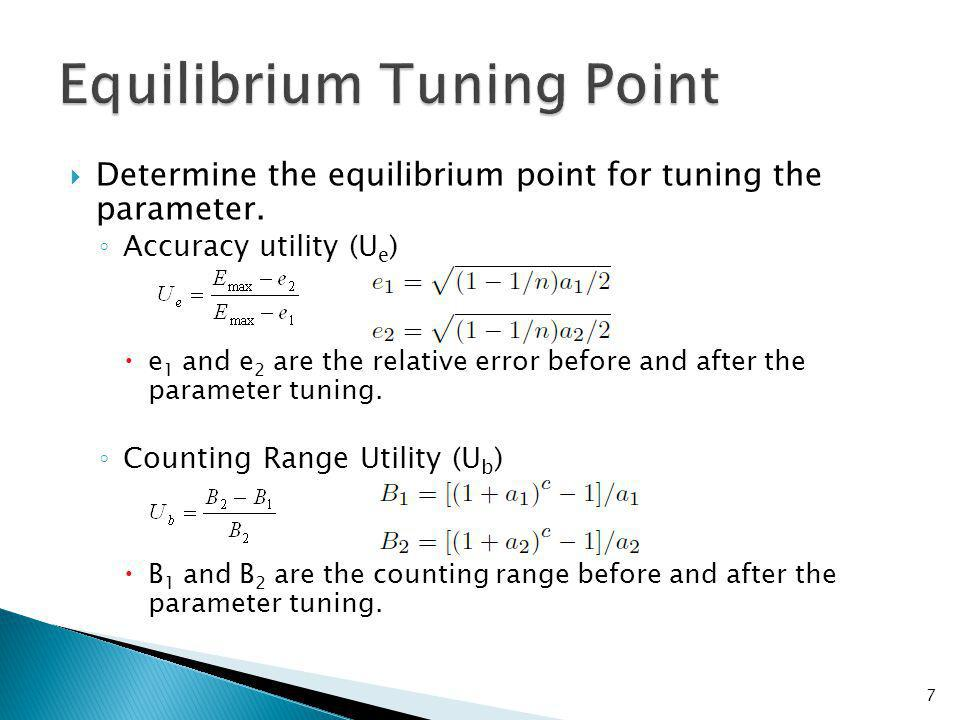 Determine the equilibrium point for tuning the parameter.