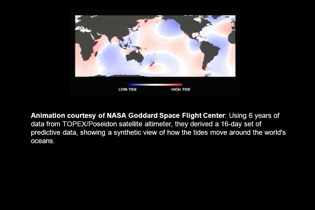 Animation courtesy of NASA Goddard Space Flight Center: Using 6 years of data from TOPEX/Poseidon satellite altimeter, they derived a 16-day set of pr