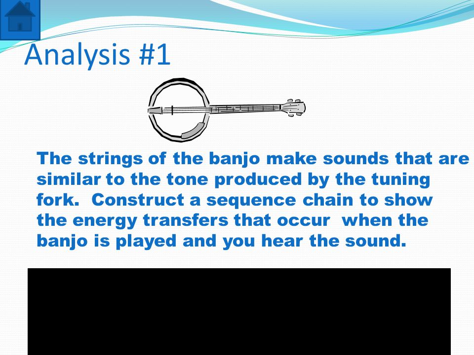 Analysis #1 The strings of the banjo make sounds that are similar to the tone produced by the tuning fork.