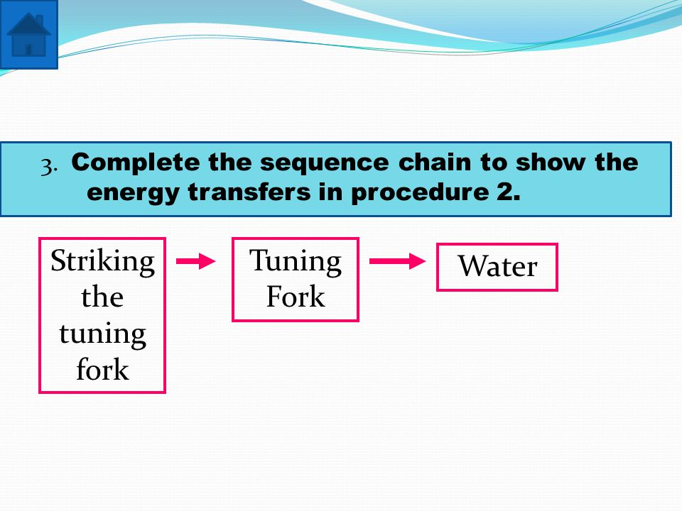 3. Complete the sequence chain to show the energy transfers in procedure 2.