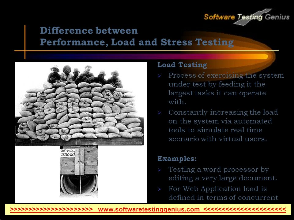 Difference between Performance, Load and Stress Testing Load Testing Process of exercising the system under test by feeding it the largest tasks it can operate with.