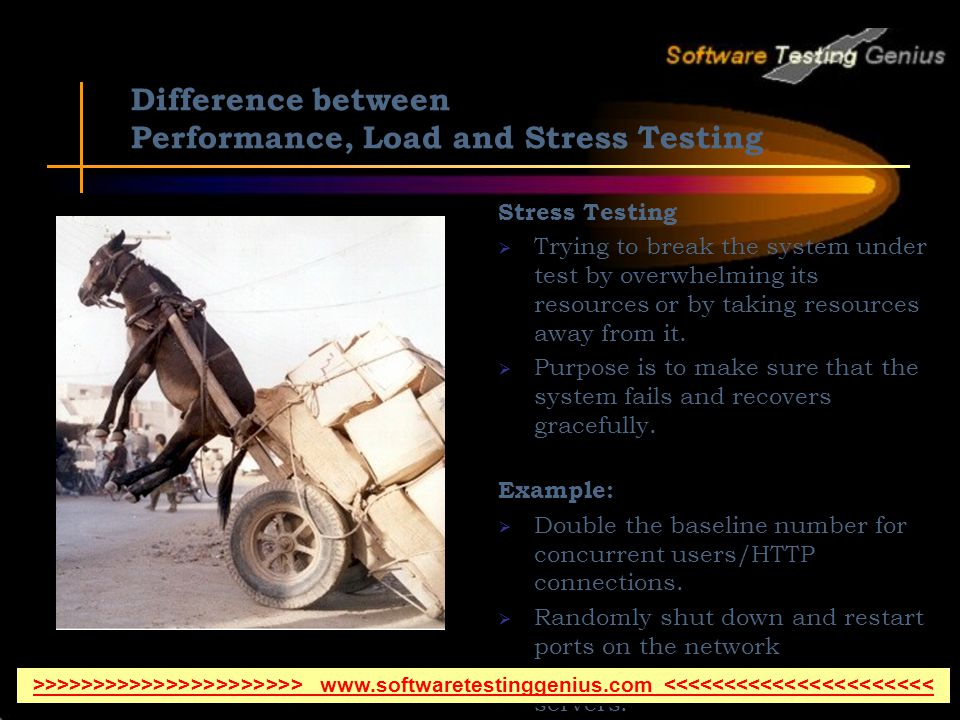 Difference between Performance, Load and Stress Testing Stress Testing Trying to break the system under test by overwhelming its resources or by taking resources away from it.