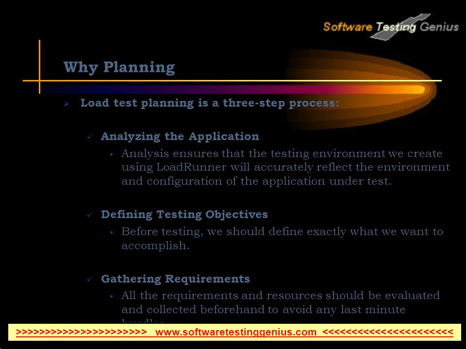 Why Planning Load test planning is a three-step process: Analyzing the Application Analysis ensures that the testing environment we create using LoadRunner will accurately reflect the environment and configuration of the application under test.