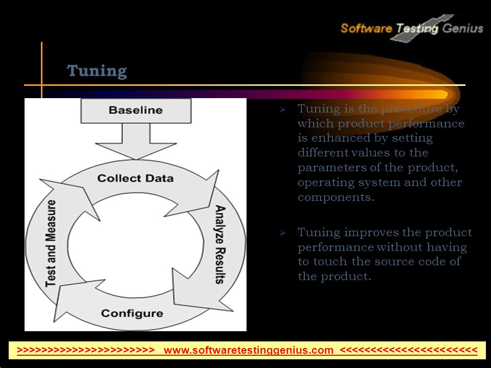 Tuning Tuning is the procedure by which product performance is enhanced by setting different values to the parameters of the product, operating system and other components.