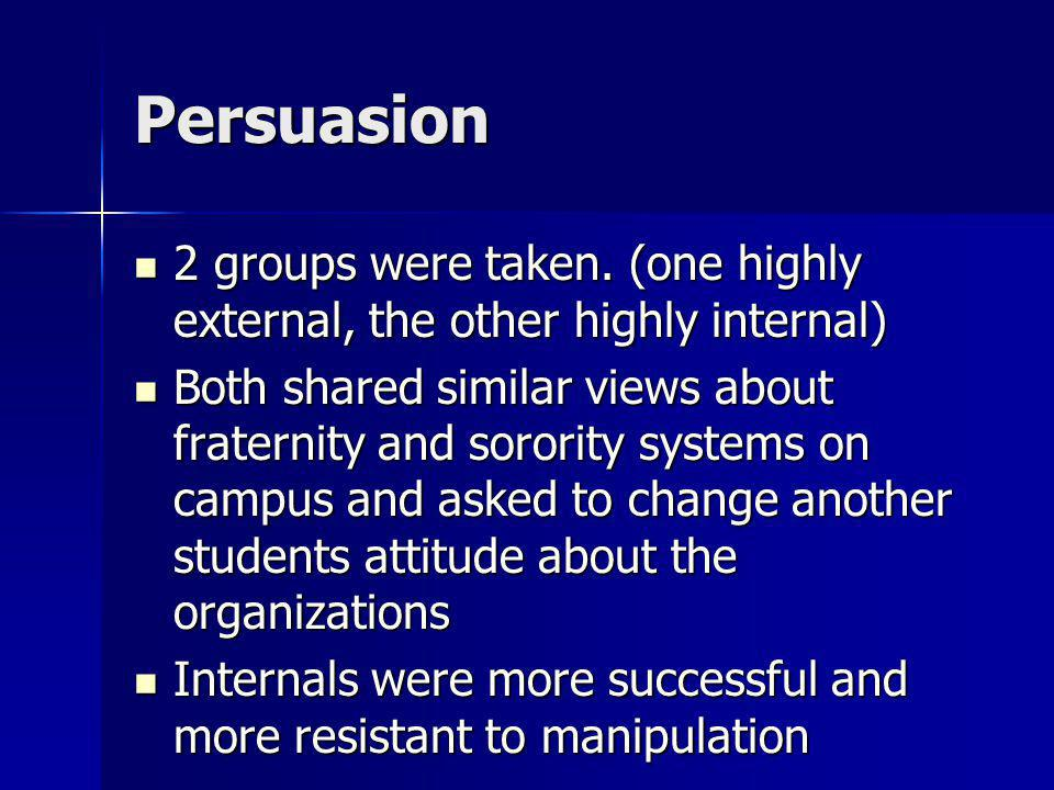 Persuasion 2 groups were taken. (one highly external, the other highly internal) 2 groups were taken. (one highly external, the other highly internal)
