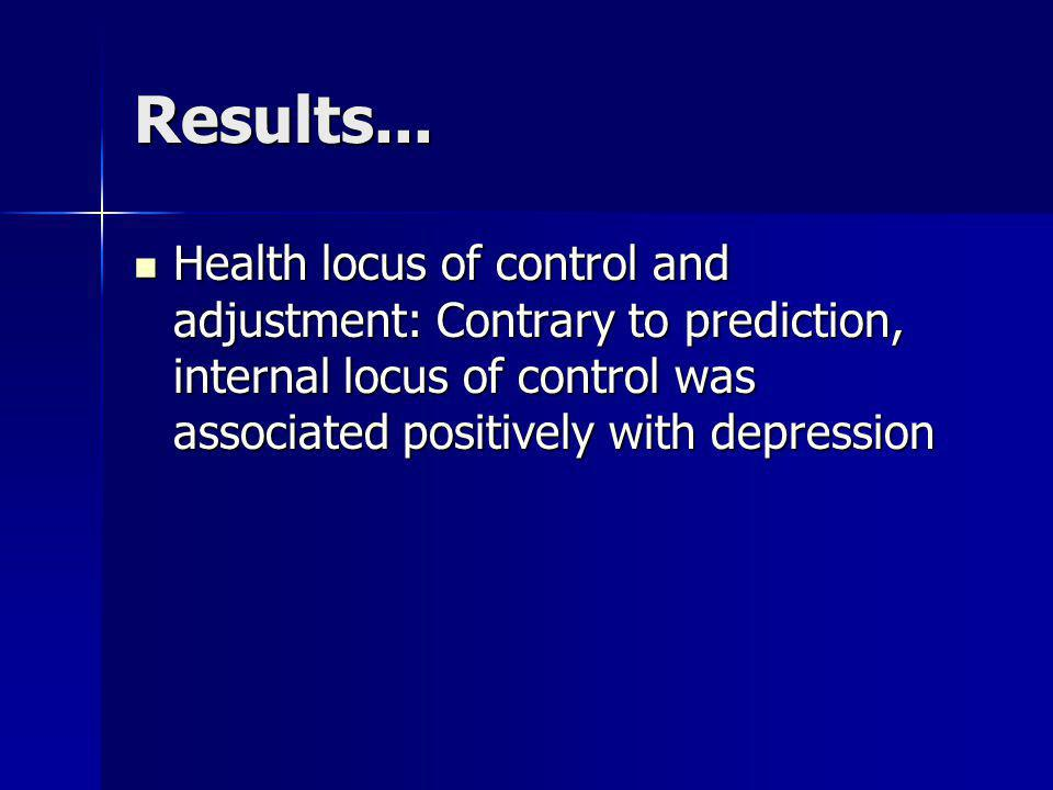 Results... Health locus of control and adjustment: Contrary to prediction, internal locus of control was associated positively with depression Health