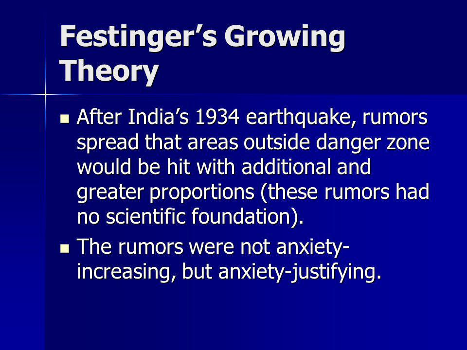 Festingers Growing Theory After Indias 1934 earthquake, rumors spread that areas outside danger zone would be hit with additional and greater proporti
