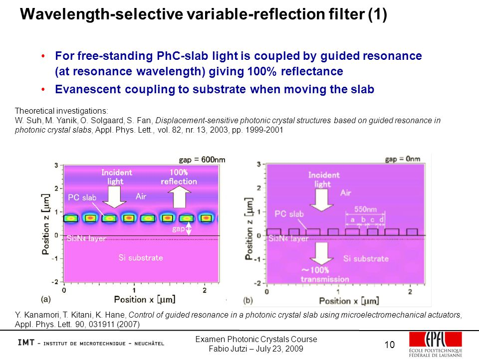 Examen Photonic Crystals Course Fabio Jutzi – July 23, 2009 10 Wavelength-selective variable-reflection filter (1) For free-standing PhC-slab light is coupled by guided resonance (at resonance wavelength) giving 100% reflectance Evanescent coupling to substrate when moving the slab Y.