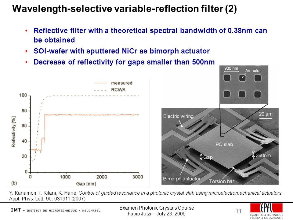 Examen Photonic Crystals Course Fabio Jutzi – July 23, 2009 11 Wavelength-selective variable-reflection filter (2) Y.