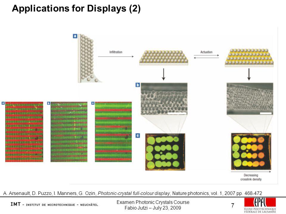 Examen Photonic Crystals Course Fabio Jutzi – July 23, 2009 7 Applications for Displays (2) A.