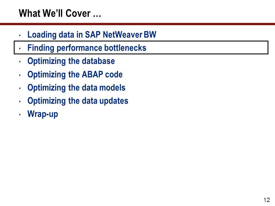 12 What Well Cover … Loading data in SAP NetWeaver BW Finding performance bottlenecks Optimizing the database Optimizing the ABAP code Optimizing the