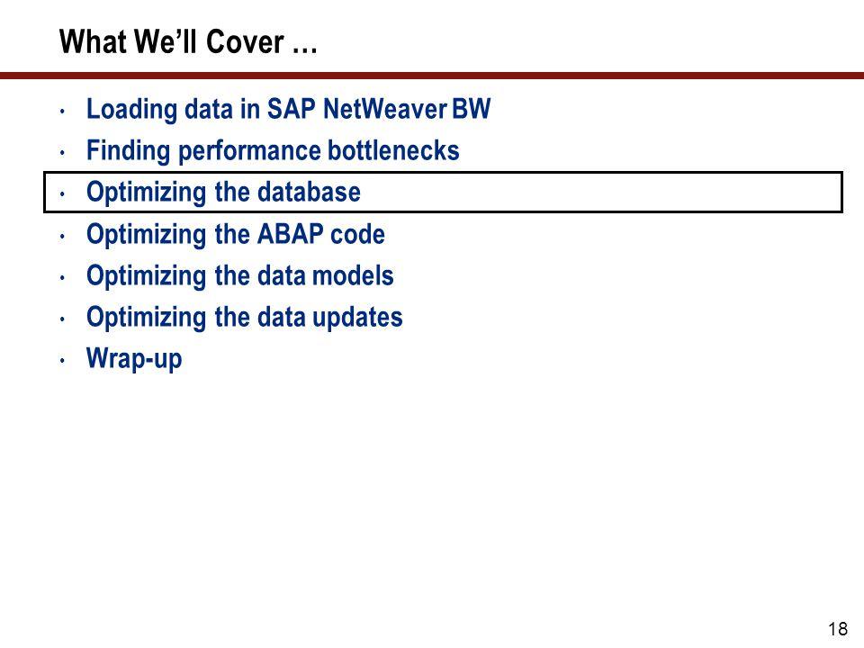 18 What Well Cover … Loading data in SAP NetWeaver BW Finding performance bottlenecks Optimizing the database Optimizing the ABAP code Optimizing the