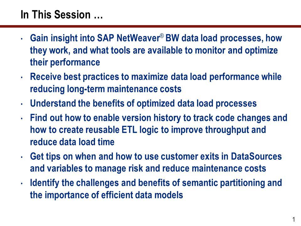 12 What Well Cover … Loading data in SAP NetWeaver BW Finding performance bottlenecks Optimizing the database Optimizing the ABAP code Optimizing the data models Optimizing the data updates Wrap-up