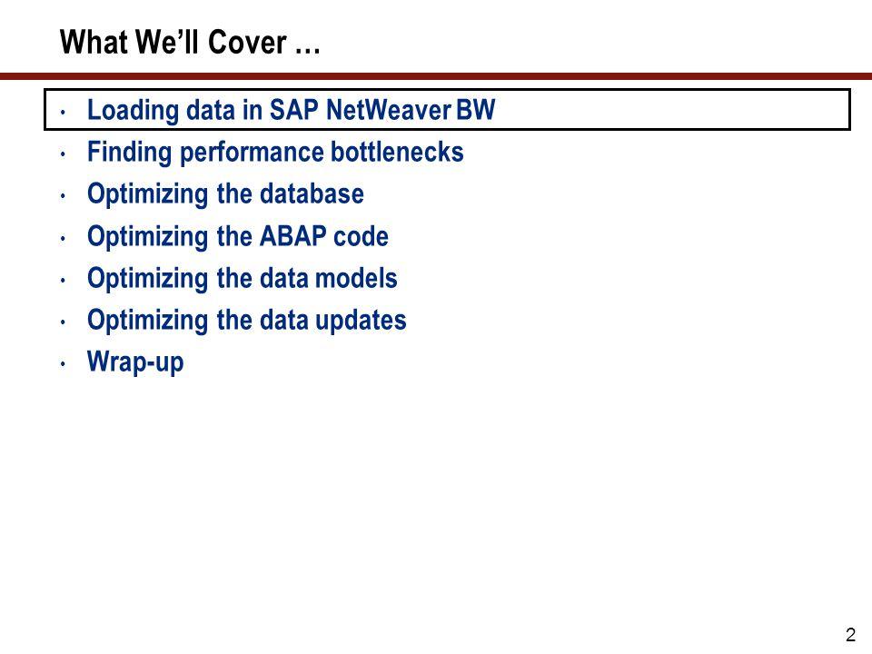 2 What Well Cover … Loading data in SAP NetWeaver BW Finding performance bottlenecks Optimizing the database Optimizing the ABAP code Optimizing the d