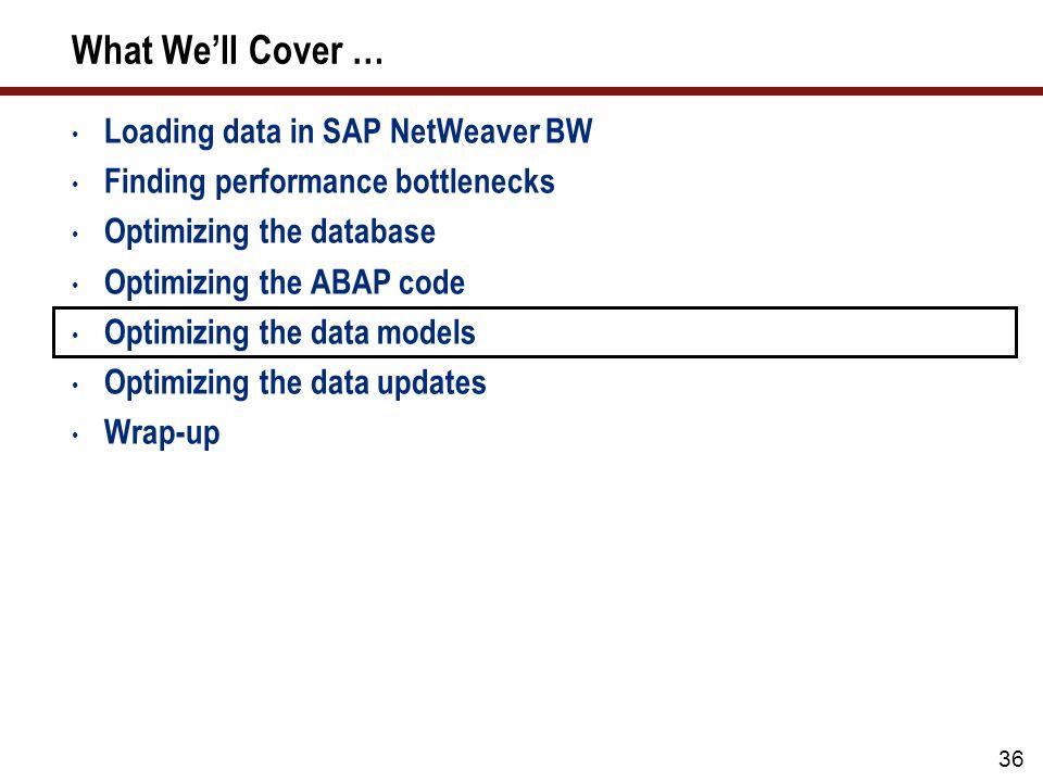 36 What Well Cover … Loading data in SAP NetWeaver BW Finding performance bottlenecks Optimizing the database Optimizing the ABAP code Optimizing the