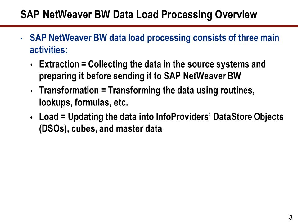 54 7 Key Points to Take Home Use the SAP NetWeaver BW statistics to find data loads that require optimization – target to optimize top 5-10 every month Use SE30 to analyze ABAP runtime for DataSources and transformations Review and implement the recommended database parameters for SAP NetWeaver BW Ensure that all SQL statements used in the data loading process are using indices and that statistics are calculated for the tables Make sure that the ABAP coding used in extraction exits and transformation is optimized Review and optimize the data models to avoid unnecessary processing Use parallel processing during data loading and updates