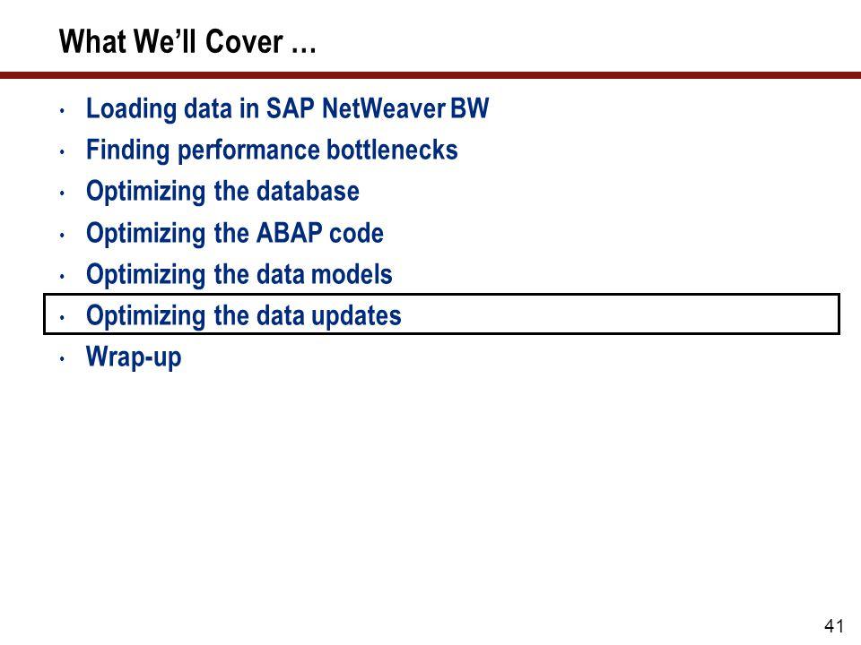 41 What Well Cover … Loading data in SAP NetWeaver BW Finding performance bottlenecks Optimizing the database Optimizing the ABAP code Optimizing the