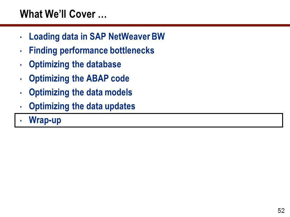 52 What Well Cover … Loading data in SAP NetWeaver BW Finding performance bottlenecks Optimizing the database Optimizing the ABAP code Optimizing the