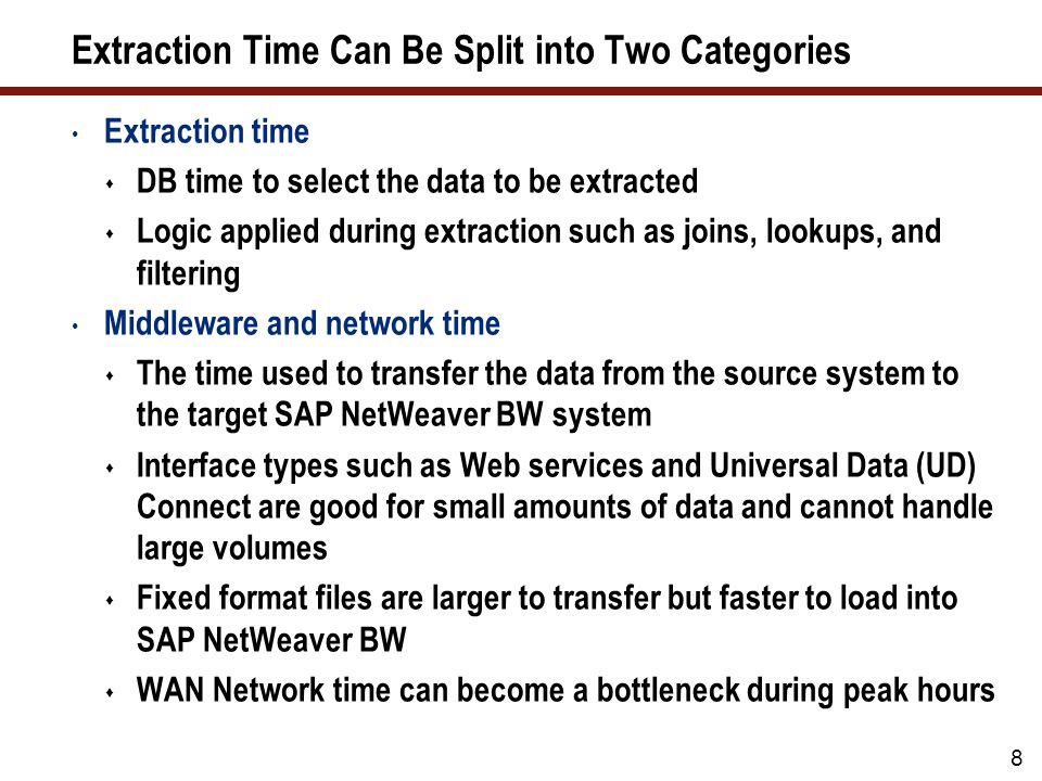 Tip 04: Implement the Correct DB Parameters Key DB parameters SAP has recommended some parameter values for SAP NetWeaver BW that usually improve performance Expect to evaluate these parameter settings frequently, though, to ensure that the DB operates optimally See three key SAP Notes: 830576 – Parameter recommendations for Oracle 10g 387946 – Use of locally managed tablespaces for BW systems 1044441 – Basis parameterization for NW 7.0 BI systems 19