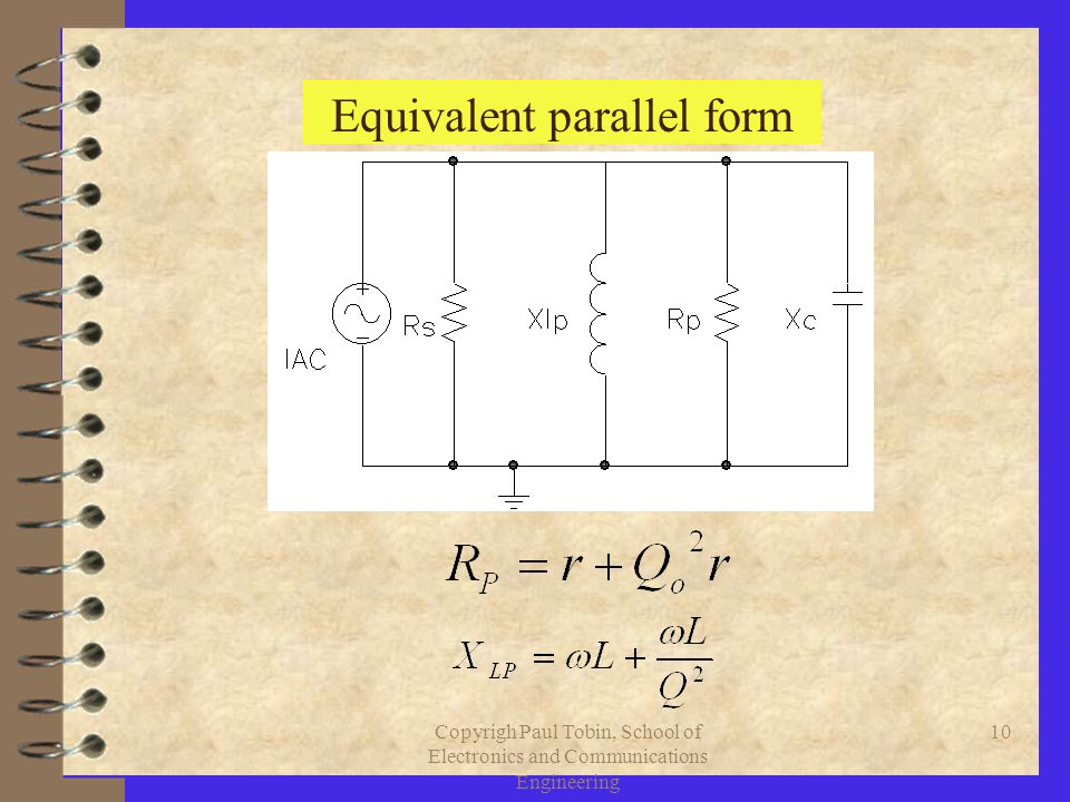 Copyrigh Paul Tobin, School of Electronics and Communications Engineering 10 Equivalent parallel form