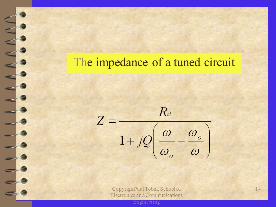 Copyrigh Paul Tobin, School of Electronics and Communications Engineering 14 The impedance of a tuned circuit