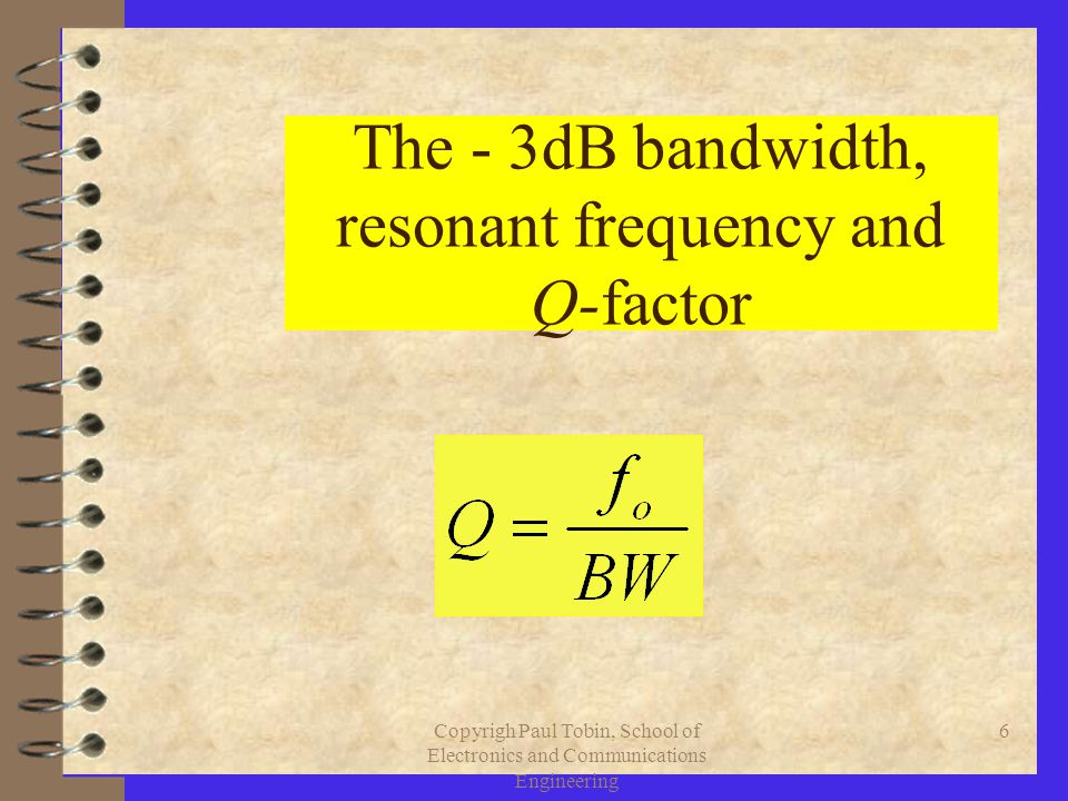 6 The - 3dB bandwidth, resonant frequency and Q-factor