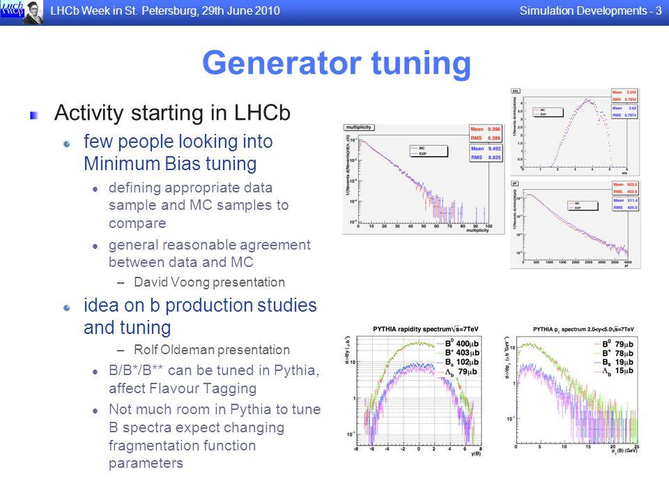 Simulation Developments - 3LHCb Week in St. Petersburg, 29th June 2010 Generator tuning Activity starting in LHCb few people looking into Minimum Bias