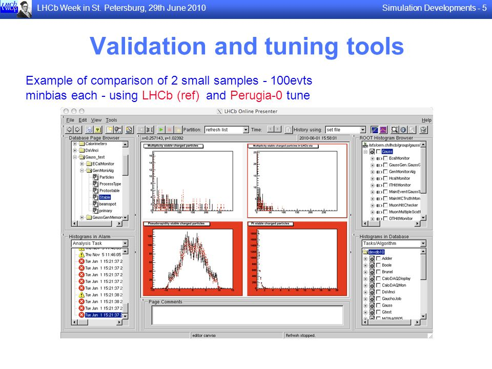 Simulation Developments - 5LHCb Week in St. Petersburg, 29th June 2010 Validation and tuning tools Example of comparison of 2 small samples - 100evts